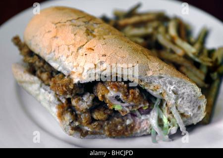Fried Oyster Po-boy Sandwich, New Orleans, Louisiana, USA - Stock Photo