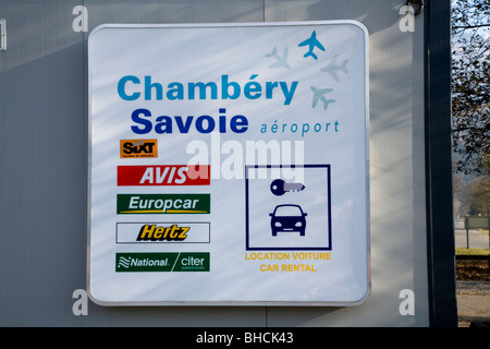 Display on a car hire office at Chambery airport near Aix les Bains on Lac du Bourget in the Savoie (Savoy) department - Stock Photo