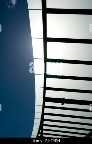 sun shade sail structure - Stock Photo