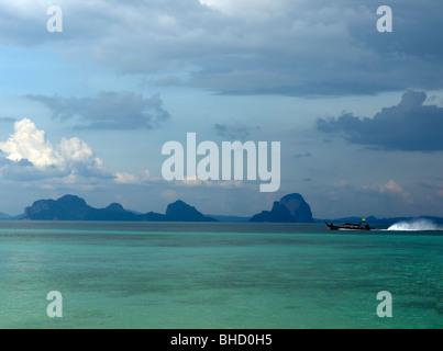 Traditional long-tail boats on Ko Hai,Andaman Sea,Thailand - Stock Photo