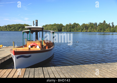 """Pleasure steam boat """"Lady Katherine"""" on the mere at Ellesmere, Shropshire - Stock Photo"""