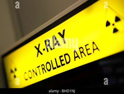 Xray sign, controlled area in an NHS hospital. - Stock Photo
