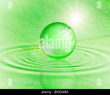 Green leaf, ripples and planet earth - Stock Photo
