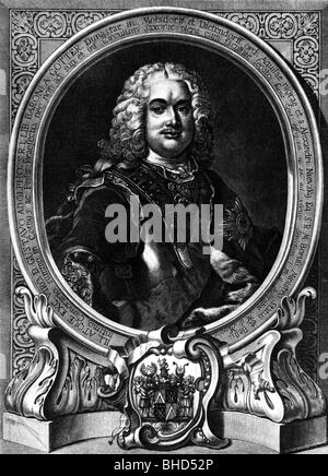 Gotter, Gustav Adolf Graf von, 26.3.1692 - 28.5.1762, German diplomat, art collector, contemporary copper engraving, - Stock Photo