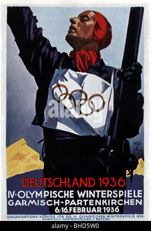 sports, 4th Olympic Winter Games, Garmisch-Partenkirchen, 6.-16.2.1936, Additional-Rights-Clearances-NA - Stock Photo