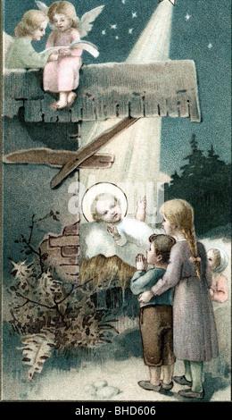 Christmas, birth of Jesus, postcard, circa 1900, - Stock Photo