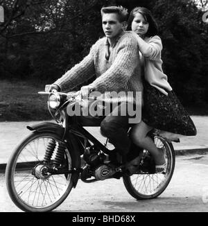 people, teenager, young couple on autocycle by 'Rex', 1950s, Additional-Rights-Clearances-NA - Stock Photo