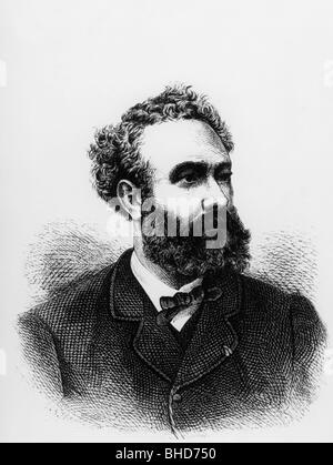 Verne, Jules, 8.2.1828 - 24.3.1905, French author / writer, portrait, wood engraving, 1870, Additional-Rights-Clearances - Stock Photo