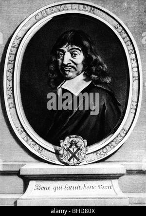 Descartes, Rene, 31.3.1596 - 11.2.1650, French philosopher, mathematician, physicist, portrait, - Stock Photo