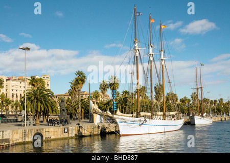 Boats in Port Vell, Barcelona, Spain - Stock Photo