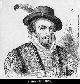 Raleigh, Walter, Sir, circa 1554 - 29.10.1618, English navigator, portrait, wood engraving, 19th century, Additional - Stock Photo