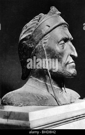 Dante Alighieri, 5.1265 - 14.9.1321, Italian author / writer (poet) and philosopher, portrait, bust, bronze, by - Stock Photo