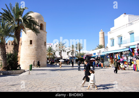 Souvenir shops outside Grande Mosquee, Sousse, Sousse Governorate, Tunisia - Stock Photo
