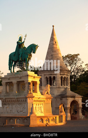 King St. Stephen statue in Buda in front of St. Matthias church in Budapest - Stock Photo