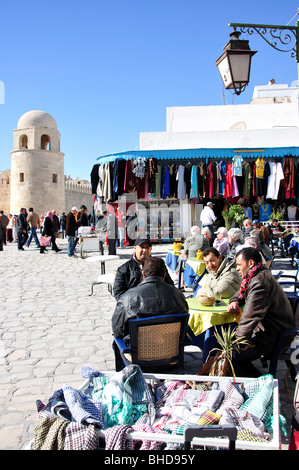 Outdoor restaurant outside Grande Mosquee, Sousse, Sousse Governorate, Tunisia - Stock Photo