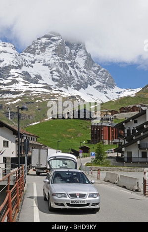 Silver Rover 45 hatchback parked in village of Breuil Cervinia at foot of Matterhorn or Il Cerviano Italy - Stock Photo