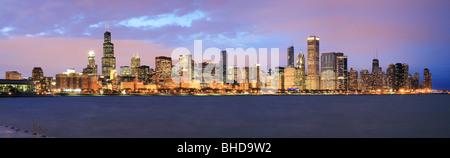 Chicago Skyline viewed over Lake Michigan - Stock Photo