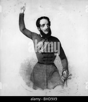 Kossuth, Lajos, 16.9.1802 - 20.3.1894, Hungarian politician, Regent-President of Hungary in 1849, half length, contemporary - Stock Photo
