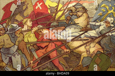 Sempach War 1385 - 1386, Battle of Sempach, 9.7.1386, victory of the Swiss confederates over the army of Leopold - Stock Photo
