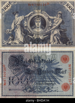 money / finance, bank notes, Germany, 100 Mark Reich bank note, No 8750126D, Berlin, 7.2.1908, - Stock Photo