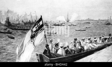 William II, 27.1.1859 - 4.6.1941, German Emperor 15.6.1888 - 9.11.1918, travel to the Orient 1898, arrival to Istanbul, - Stock Photo