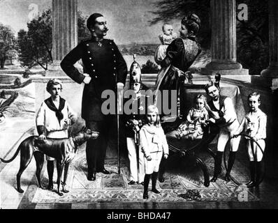 William II, 27.1.1859 - 4.6.1941, German Emperor 15.6.1888 - 9.11.1918, with familiy, photomontage, 1892, ,