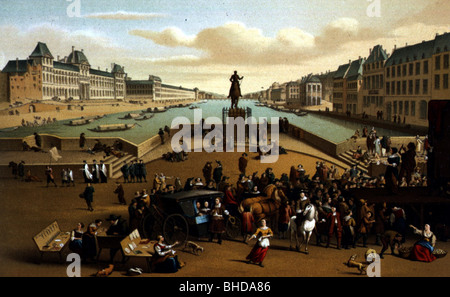 geography / travel, France, Paris, Pont Neuf, 17th century, after contemporary painting, chromolithograph by Gaulard, - Stock Photo