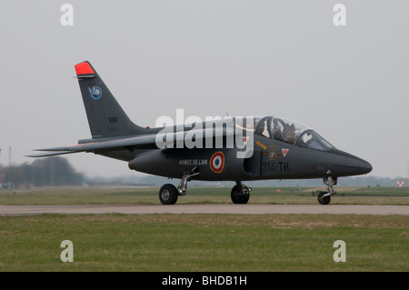 Visiting French Alpha jet taxing out to the runway at RAF Conningsby - Stock Photo