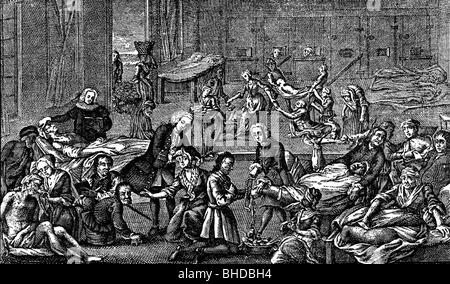 medicine, disease, plague, hospital in Hamburg, Germany, 1758, Artist's Copyright has not to be cleared - Stock Photo
