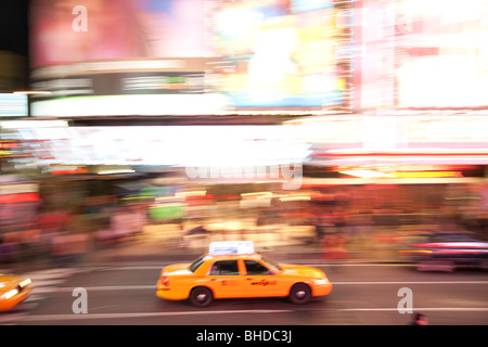 New York Taxis in Times Square - Stock Photo