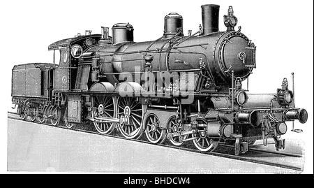 transport / transportation, railway, steam locomotive, Munich, Germany, wood engraving, late 19th century, graphic, - Stock Photo