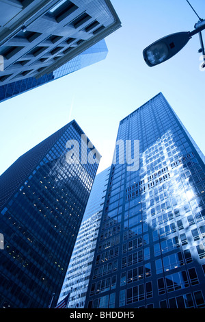 Low angle view of skyscrapers at downtown Manhattan, New York City, NY, USA - Stock Photo