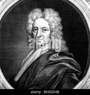 Halley, Edmund, 29.10.1656 - 14.1.1742, English astronomer, portrait, copper engraving, 18th century, , Artist's - Stock Photo