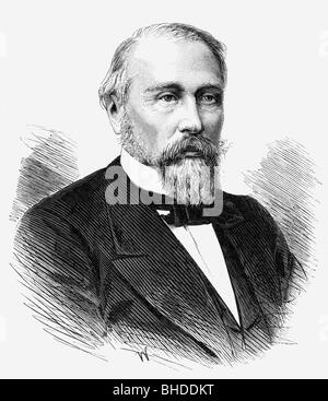 Katkov, Mikhail N., 13.2.1818 - 1.8.1887, Russian journalist, portrait, wood engraving, Additional-Rights-Clearances - Stock Photo