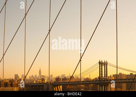 Manhattan Bridge and midtown skyline from Brooklyn Bridge, Manhattan, New York City, NY, USA - Stock Photo