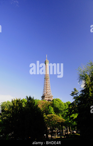 View of Eiffel Tower from Jardins du Trocadero, Paris, France - Stock Photo