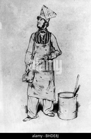 Gavarni, Paul, 13.1.1804 - 24.11.1866, French artist (illustrator), 'The house painter', lithograph by himself, - Stock Photo