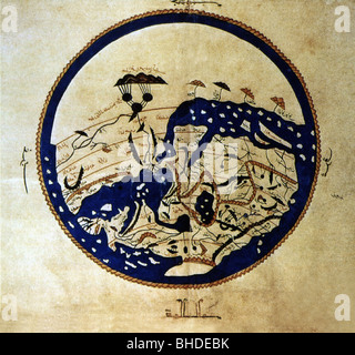 cartography, world maps, middle ages, Arabian map of von al-Idrisi, 1154, Additional-Rights-Clearances-NA - Stock Photo