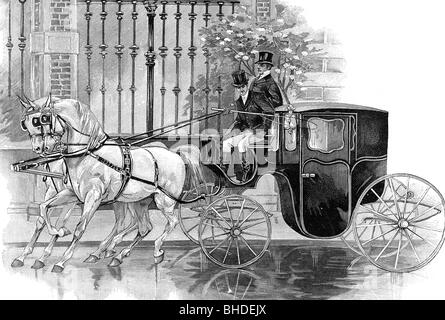 transport / transportation, coach, bridal coach, drawing by A.Ackermark, wood engraving, 19th century, carriage - Stock Photo