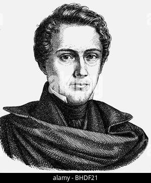 Hauff, Wilhelm, 29.11.1802 - 18.11.1827, German poet, portrait, contemporary wood engraving, , Additional-Rights - Stock Photo