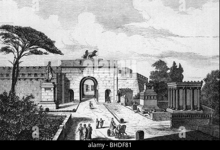 geography / travel, Italy, Pompeii, gate to the street of tombs, reconstruction, wood engraving, 19th century, historic, - Stock Photo