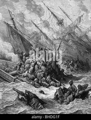 Fifth Venetian Turkish War 1570 - 1573, Battle of Lepanto, 7.10.1571, between of the naval forces of the Holy League under Don Juan de Austria and the Ottoman Empire under Ali Pasha, scene, lithograph by Gustav Doré, 1877, Greece, Nafpaktos, Naupactus, Gulf of Patras, navigation, fleet, fleets, navy, naval war, naval wars, armed forces, naval forces, 16th century, sixteenth century, the 1500s, graphic, graphics, decay, republic Venice, Kingdom of Spain, Papal States, Ottomans, Turks, Great Turkish War, Ottoman Wars, shipwrecks, abandoned shipwreck, fig, Artist's Copyright has not to be cleared