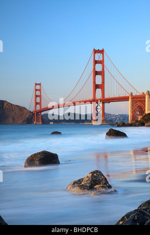Golden Gate Bridge viewed from Bakers Beach - Stock Photo