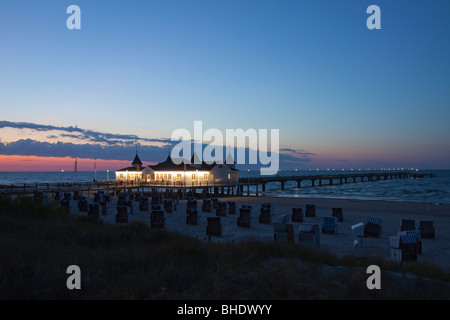 The pleasure pier of Ahlbeck on the Baltic Island Usedom in evening light, Germany. - Stock Photo