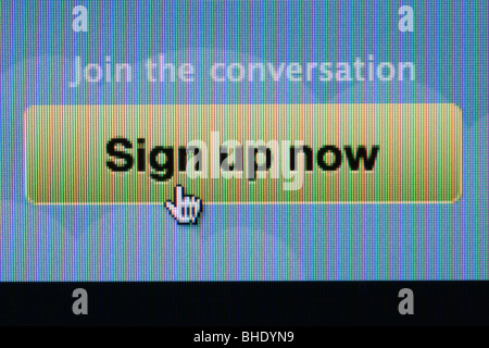 Close-up screenshot of Twitter website sign up now to join - Stock Photo