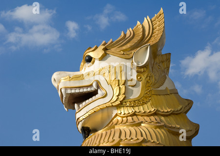 Shwedagon Pagoda, Western entrance, Golden mythical dragon, Rangoon, Yangon; Burma, Myanmar - Stock Photo