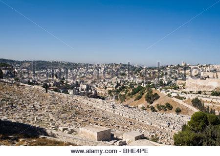 Jewish Cemetery, Mount of Olives, Jerusalem, Israel - Stock Photo