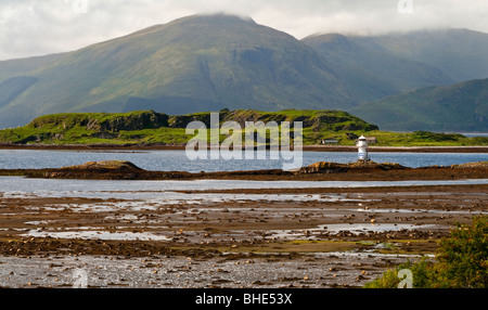 View across Loch Linnhe from Port Appin towards Morvern in Argyll in north west Scotland UK - Stock Photo
