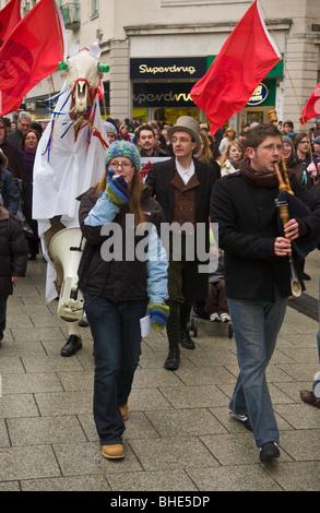 Welsh Language Society, Cymdeithas yr iaith Gymraeg, march with Mari Lwyd through Cardiff City Centre, South Wales, - Stock Photo
