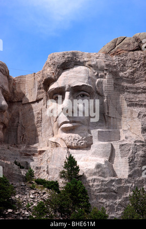 Abraham Lincoln, the sixteenth president of the United States of America, as depicted on Mount Rushmore National - Stock Photo